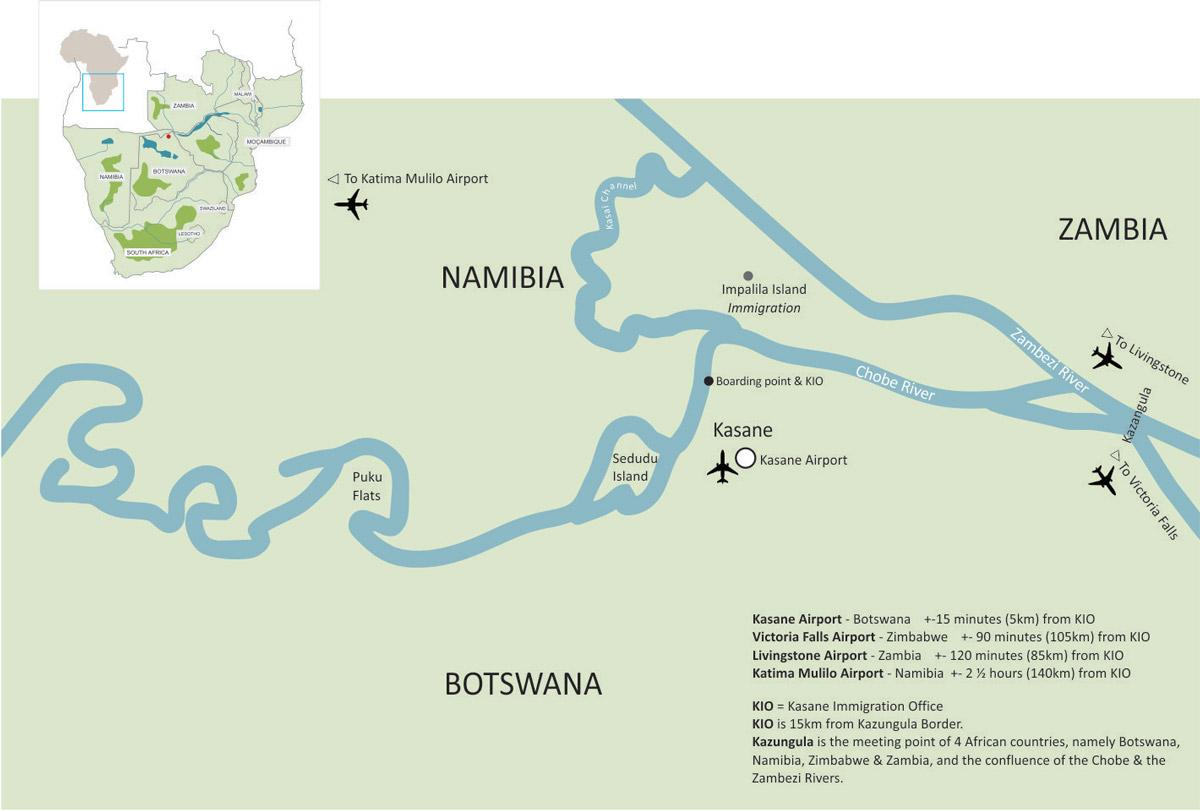 Kasane Botswana Kartta Kartta Kasane Botswana Etela Afrikka