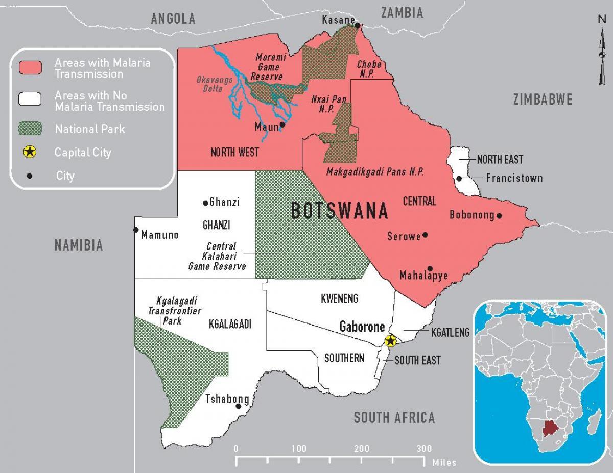 Botswana Malaria Kartta Kartta Botswana Malaria Etela Afrikka